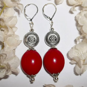 Statement Earrings Red & Silver Jewelry NWT 4766